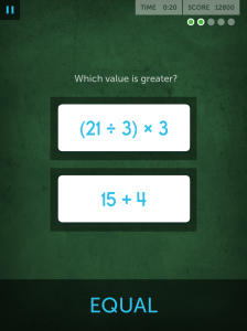 ...and then it becomes more complicated. Screenshots from one of my Chalkboard Challenge sessions on the iPad version of Lumosity.